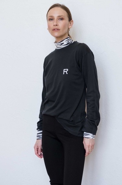 Distressed Long Sleeve Tee With Embroidery Faded Black