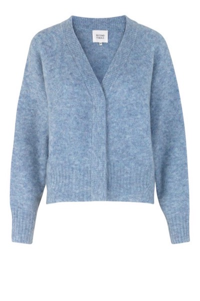 Brook Knit Boxy Cardigan Blue Bonnet