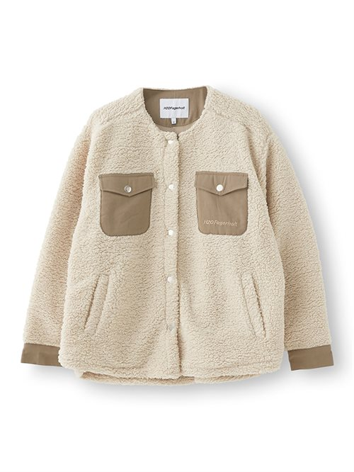 Checket Pile Shirt Jacket Beige