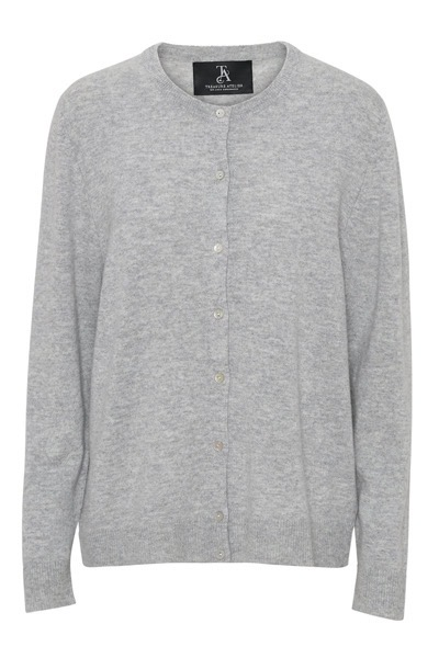 Mariola Crew Neck Cardigan Light Grey Melange