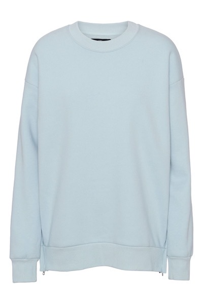 Venus Crew Zip Sweatshirt Light Blue